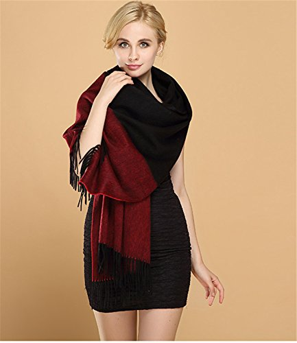 """Saferin Extra Large 78""""x28"""" Women Soft Cashmere Lambswool Pashmina Wrap Shawl Stole Scarf (Ombre Burgundy and Black)"""
