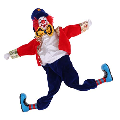 MagiDeal 41cm Funny Clown Man Doll Wearing Red Clothes W. Bow Halloween Ornament Gift