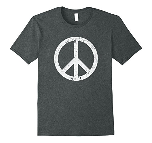 Mens Vintage Peace Sign White Distressed T Shirt Large Dark Heather