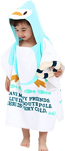 Infant Kids Animal Design Hooded Bath/Beach Poncho Towel Penguin (Poncho Baby Girl)