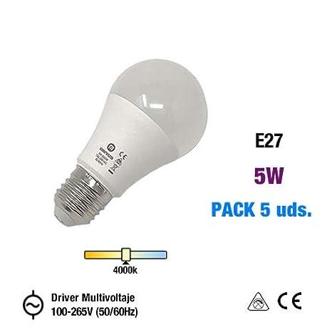 Bombilla LED E27 con driver multivoltaje integrado de 100-265V (50/60Hz) (Blanco Natural (4500k), Pack x5 Un.)