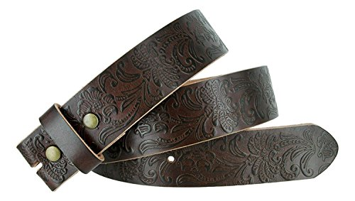 Western Floral Engraved Tooled Full Grain Leather Belt Strap 1-1/2
