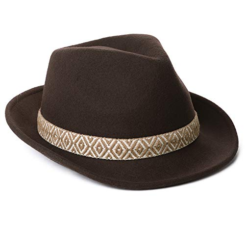 Mens Homburg Gangster Hat Wool Felt Fedora 1920s Derby Hat Frank Sinatra Manhattan Mafia Godfather Winter Accessories L Brown -