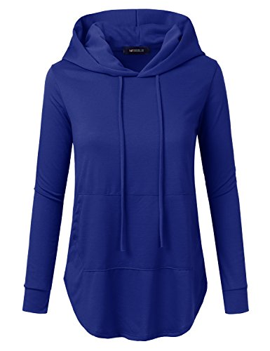 Doublju Loose Fit Pullover Hoodie with Kangaroo Pocket for Womens with Plus Size (Made in USA) Royal 2XL (Hoodie Blue Royal)