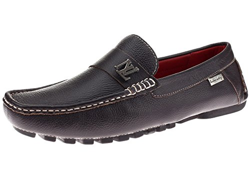 Natazzi Mens Air Grant Canoe Leather Shoes Original Slip-On Driving Loafer Brown 9dAprWlZ