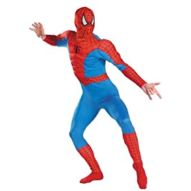 - 41UcE6wgo5L - Adult size Spider-Man Classic Muscle Adult Costume Fits Chest Sizes 42-46