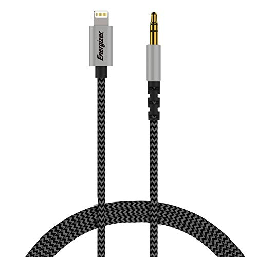 Premier Energizer Ultimate iPhone Car Connector AUX to Lightning Cable 6ft MFi Audio Link Headphone Jack Auxiliary Adapter 3.5 mm Nylon Braided Cord Metal Tip, Black 6 Feet