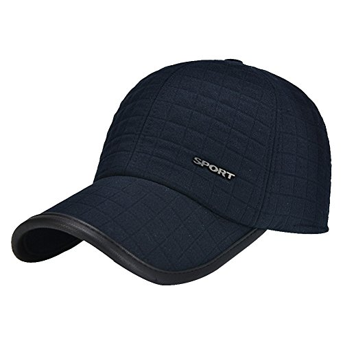 Mens Earflap (Men Winter Thicken Wool Fleece Lined Snowboarding Baseball Cap Hat with Earflaps (Navy-30))