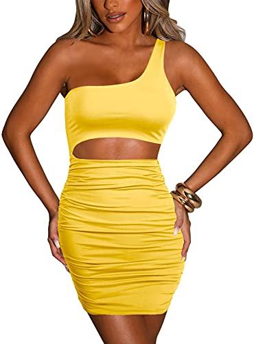 HOMELEX WOMENS 섹시한 한 어깨 민소매 컷 아웃 RUCHED BODYCON 미니 클럽 드레스