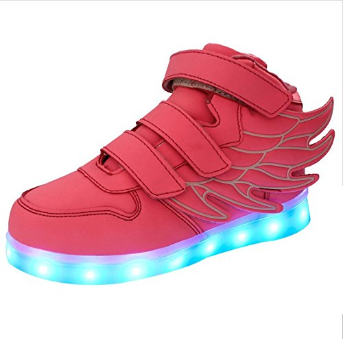 iBaste Ala USB movimiento LED niños brillo zapatos infantil 2016 NEW Primavera rosa