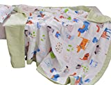 J-pinno Boys & Girls Cute Puppy Dogs Muslin Quilted Comforter Bedding Coverlet, 100% Long Staple Cotton, Throw Blanket Twin/Full for Kid's Bedroom Decoration Gift (Twin 59'' X 78'', puppy2)