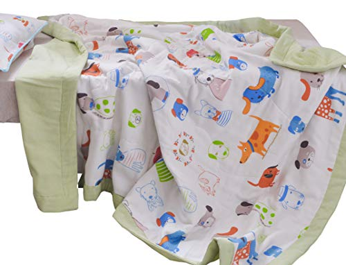 J-pinno Boys & Girls Cute Puppy Dogs Muslin Quilted Comforter Bedding Coverlet, 100% Long Staple Cotton, Throw Blanket Twin/Full for Kid's Bedroom Decoration Gift (Twin 59'' X 78'', puppy2) by J-pinno