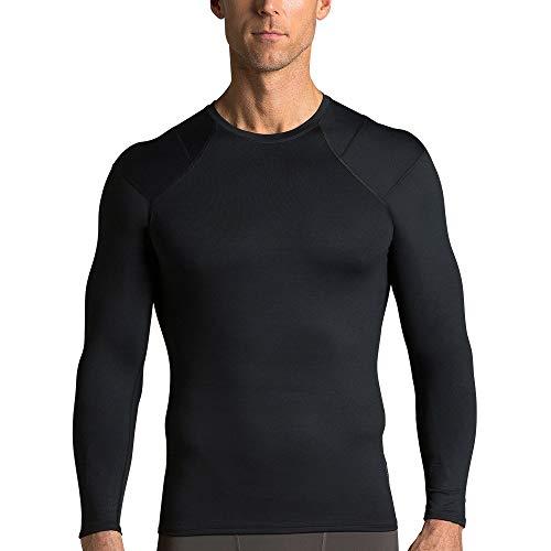 Tommie Copper Mens Long Sleeve Shoulder Support Shirt, Black, Large