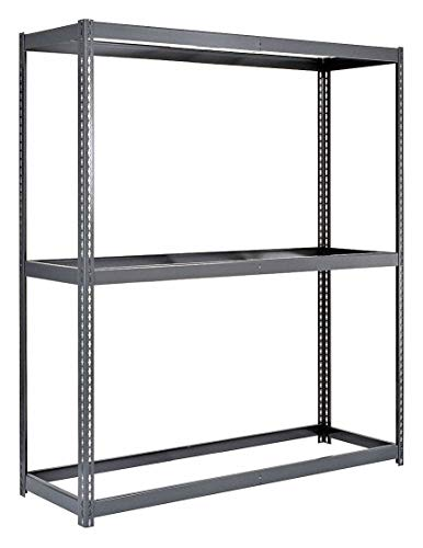 Edsal RL2451 Boltless Double Rivet Lock Bulk Storage Rack with Particle Board or Wire Decking, L Beam, 3 Levels, 1000 lb. Capacity, 60