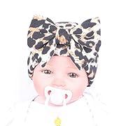 Fullkang Newborn Hospital Hat Newborn Baby Hats With Flower Bowknot Flower (Leopard Yellow)