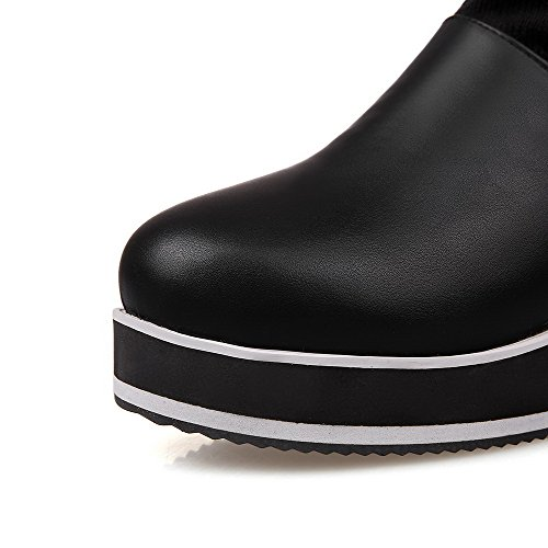 Allhqfashion Dames Ronde Gesloten Neus Kitten-hakken Mix Materialen Middenkuit Laarzen Zwart