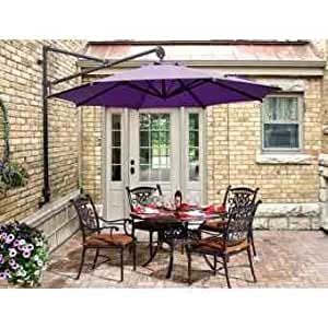 Vibrant Purple Wall Over Hanging 3m Parasol For Patio Sets