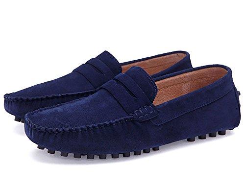Casual da Pantofole Scamosciata di Blu Barca Flat Scarpe Slip ODEMA On Basse Mocassino Uomo Scarpe Camminando in Viaggio Pelle w4nPX