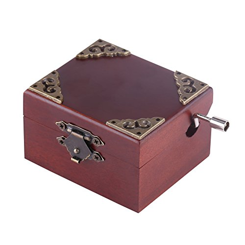 (Classical 8 Note Hand Crank Music Box Beech Wood Miniature Wind Up Musical Box Case Toys Gifts for Christmas Birthday Valentine's day (Edelweiss))