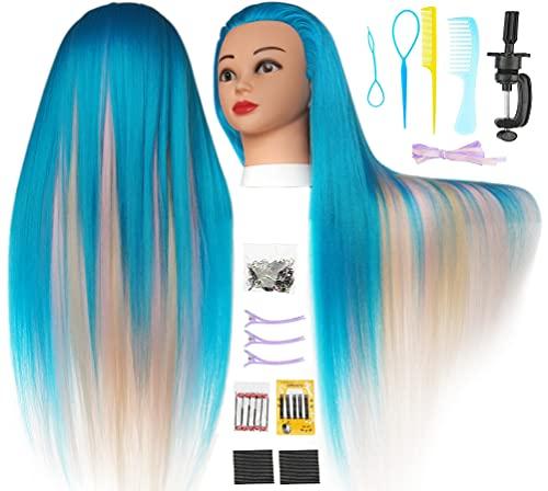 Cabeza  practica de peluqueria 75cm(3 colores B)+ accesorios