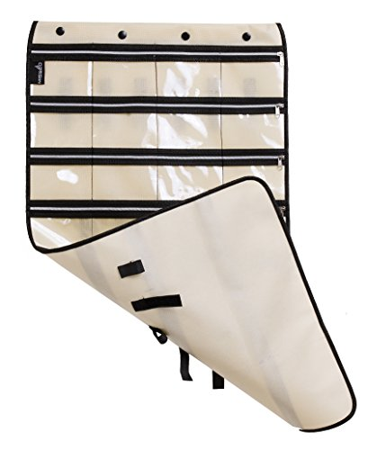 MISSLO Zippered Jewelry Organizer Hanging For Travel Home Storage 30 Zippered Pockets 17 Loops, Beige by MISSLO