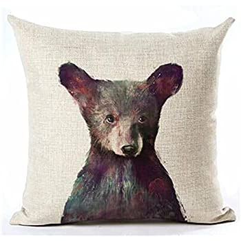 Andreannie Nordic Simple Ink Painting Watercolor Animal Adorable Bear Cotton Linen Throw Pillow Case Personalized Cushion Cover New Home Office Decorative Square 18 X 18 Inches