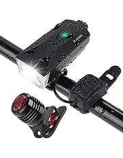 Zacro 2600mAh Luz Bicicleta Delantera y Trasera USB Recargable,IPX4 Impermeable,Luz de Bicicleta con 2 USB Cables,6 Modos de Luces para Ciclismo, Camping y Carretera