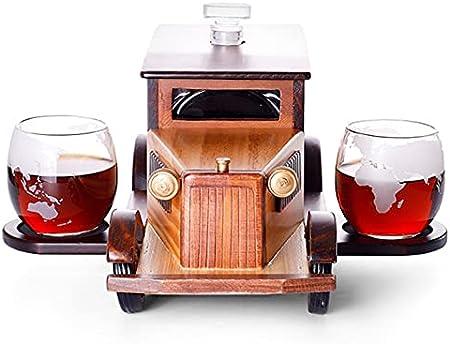 ASY Juego De Decantador De Whisky, Dispensador De Alcohol De Coche Antiguo con 2 Vasos De Whisky para Bar, Fiesta En Casa, Decantador De Vidrio, Idea Perfecta como Regalo para Hombres