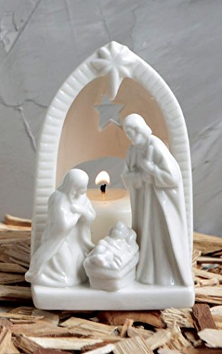 White Ceramic Tealight Holder Holy Family Nativity Figurine - 4 Inch Nativity Ceramic