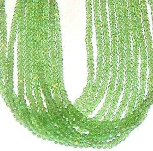 Steven_store CR130c Peridot Green 4mm Faceted Rondelle Cut Crystal Glass Beads 11