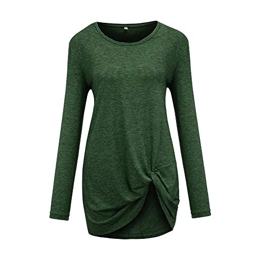 Scollo Tinta O E Maniche Lunghi Unita Verde Lunghe A Camicia con CICIYONER Donne Camicetta Collo Top 5vwPqnz0xO