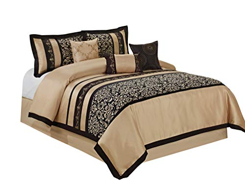 7 Piece ODESA Print & Embroidery Comforter Set-Queen King Cal.King Size (Cal.King, Taupe/Black) ()