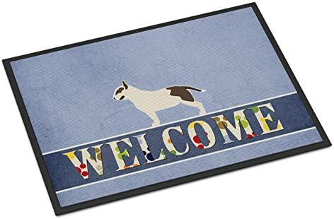Caroline s Treasures BB5582JMAT Bull Terrier Welcome Indoor or Outdoor Mat 24×36, 24H X 36W, Multicolor