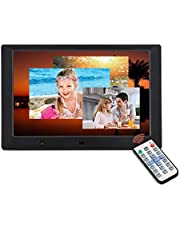 10 inch Digital Picture Frame,16: 9 Screen Photo Frame Adjustable Brightness, Timing Power On/Off, Calendar,Background Music Support 1080P Video Remote Control