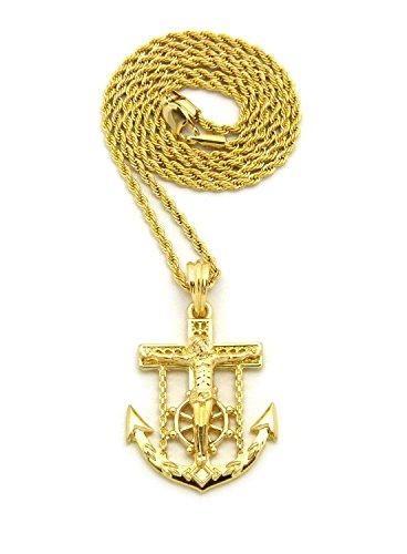 Mens Jesus Anchor Cross Hip Hip Jewelry Pendant 24
