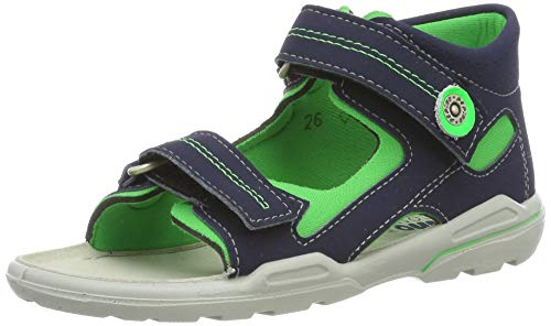 Ricosta Boys' Manti Closed Toe Sandals, Blue (Nautic/Neongrün 555) 10 UK ()