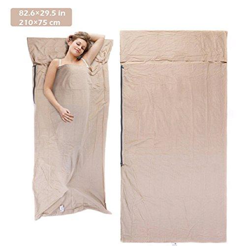 Azarxis Sleeping Bag Travel Sheet Sleep Liner Cotton Lightweight Compact Sleep Sack for Backpacking Hotel Picnic (Beige - 82.6 x 29.5 inches)