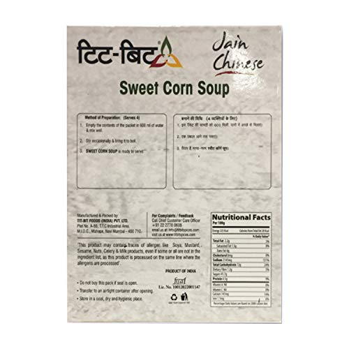 Tit-Bit Jain Chinese Sweet Corn Soup - 50gms (Pack of 5)