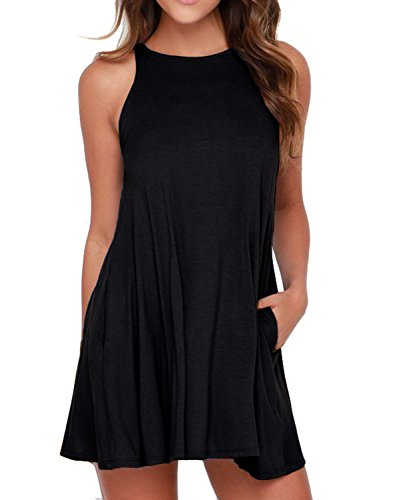 (Unbranded* Women's Sleeveless Pockets Casual Swing T-Shirt Dresses Black)