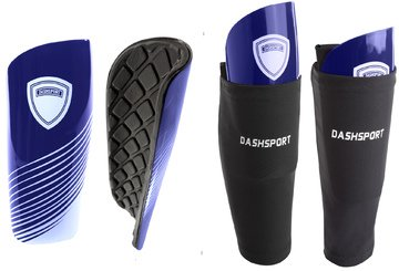 DashSport Soccer Shin Guards Youth Includes Two Shin Guards and Two Compression Calf Sleeves with Pockets (Blue, Medium (Youth))