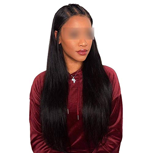Lace Front Human Hair Wigs Straight Pre Plucked Hairline Baby Hair 10-26 Inch 150% Malaysian Straight Human Hair Lace Wigs,Natuurlijke kleur,24 inches,150% ()
