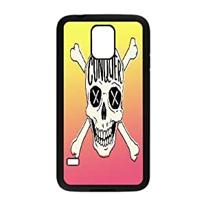 {Funny Quote Series} Samsung Galaxy S5 Case Typography Conquer Skull, Men Luxury Case Yearinspace - Black