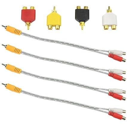 Amazon.com: XLX 4PCS 1 Male to 2 Female RCA Speaker Audio Cable ...