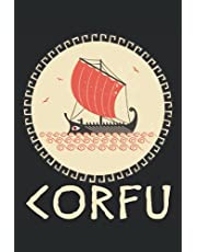 """Corfu Journal: Ionian Sea Greece Notebook, Greek Islands Diary, Blank Lined Journal 6""""x9"""" 120 Pages, Trireme Sailboat Traveling Sailing Exploration"""