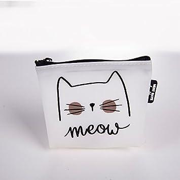 Cartera de monedas para gatos, con cremallera, mini cartera para guardar auriculares (color blanco): Amazon.es: Hogar