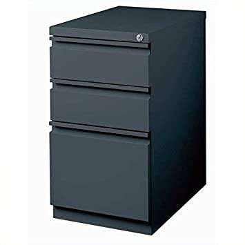 Hirsh Industries 20 Deep Box-Box-File Mobile Pedestal in Charcoal
