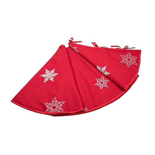 Glisten Snowflake Embroidered Christmas Tree Skirt, 56-Inch Round, Red