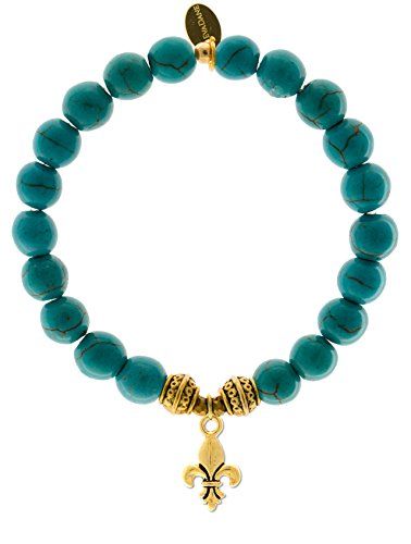 EvaDane Natural Turquoise Gemstone Tibetan Bead Fleur de Lis Charm Stretch Bracelet - Size 9 Inch ( 1_TUR_G_T_FLE_9)