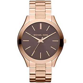 Michael Kors Womens Slim Runway Rose Gold-tone Stainless Steel Watch