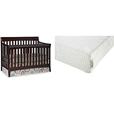 Stork Craft Avalon 4 In 1 Convertible Crib Espresso With Graco Natural Organic Foam Crib And Toddler Mattress